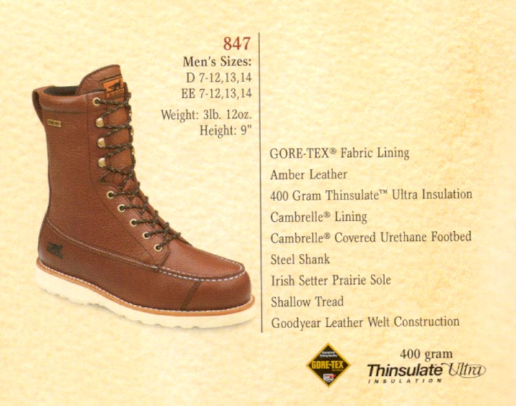 Note: This boot is GORE·TEX ® lined, assuring a totally waterproof ... Irish Setter Upland Boots